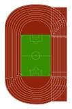 Den övre sikten av det running spåret och fotboll field Arkivbild