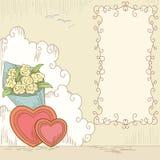 den abstrakt banerbuketten blommar hjärtor royaltyfri illustrationer