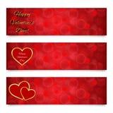 den abstrakt banerdagen blommar den röda s valentinen för hjärtor Arkivfoto