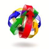 Den abstrakt designen av ringer och pilar royaltyfri illustrationer