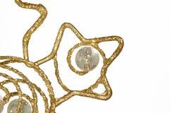 den abstrakt julen detail den guld- prydnaden Arkivfoto