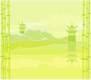 den abstrakt kinesen landskap stock illustrationer