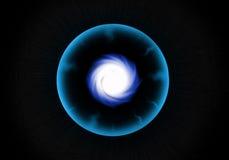 Den abstrakt svarten spela golfboll i hål i universum Arkivfoto