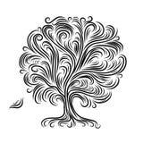 Den abstrakt treen med rotar för din design Arkivbilder