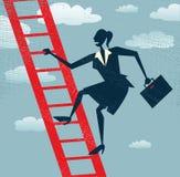 Den abstrakta affärskvinnan klättrar upp stock illustrationer