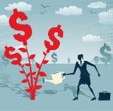Den abstrakta affärskvinnan växer ett dollarträd Arkivfoton