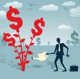 Den abstrakta affärsmannen växer ett dollarträd Arkivfoton