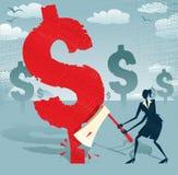 Den abstrakta affärskvinnan klipper ner dollaren. Royaltyfria Bilder