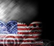 Den abstrakta amerikanska flaggan förser med kuggar bakgrund fotografering för bildbyråer
