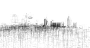 Den abstrakta arkitektoniska teckningen skissar, staden Scape vektor illustrationer