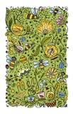 Den abstrakta blom- modellen med bin, skissar för din design Royaltyfria Bilder
