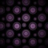 Den abstrakta cirkeln smyckar lilor på suddig svart som centreras och Arkivfoto