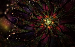 Den abstrakta datoren frambragte fractalblommadesign Digital konstverk för minnestavlabakgrund, skrivbords- tapet eller för idéri stock illustrationer