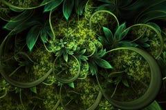 Den abstrakta datoren frambragte växtfractaldesign Digital konstverk för minnestavlabakgrund, skrivbords- tapet eller för idérik  stock illustrationer
