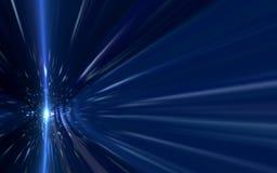 Den abstrakta den hastighetslinssignalljuset och strålen tänder på svart bakgrund Fotografering för Bildbyråer