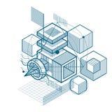Den abstrakta designen med det linjära ingreppet 3d formar och diagram, vektor I Arkivfoto