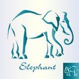 Den abstrakta elefanten går Arkivfoto