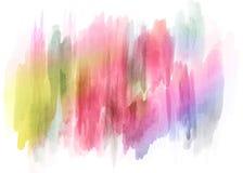 Den abstrakta färgrika bakgrunden för vattenfärgmålarfärgsprej - räcka utdragen bakgrund Royaltyfria Bilder