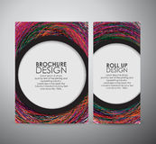 Den abstrakta färgrika geometriska mallen för designen för beståndsdelbroschyraffären eller rullar upp Royaltyfria Foton