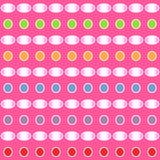 Den abstrakta färgrika lutningmodellen av cirkeln och ellipsen formar på rosa bakgrund också vektor för coreldrawillustration royaltyfri illustrationer