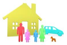 Den abstrakta familjen står framme av deras hus och bil Royaltyfria Bilder