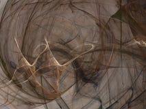 Den abstrakta fractalmodellen av lysande beigea mörka kurvor vinkar Arkivfoto
