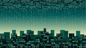 Den abstrakta futuristiska smarta staden med den konstgjorda intelligensen och internet av saker, stad förband molnlagring, datas Arkivfoto