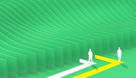 Den abstrakta geometriska den labyrintaffärsnivån och kurvan gör grön på bakgrund vektor illustrationer