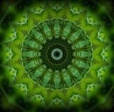 Den abstrakta grönskamodellen, gömma i handflatan gröna sidor med kalejdoskopeffekt Royaltyfri Foto