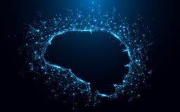 Den abstrakta hjärnformen fodrar och trianglar, punktförbindande nätverk på blå bakgrund royaltyfri illustrationer