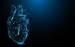Den abstrakta hjärtasymbolsformen fodrar och trianglar, punktförbindande nätverk på blå bakgrund vektor illustrationer
