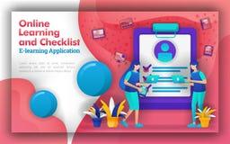 Den abstrakta illustrationen för online-lära och kontrollistan lär att lära definition med teknologi förhöjning, i att förstå som stock illustrationer