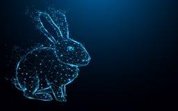Den abstrakta kaninformen fodrar och trianglar, punktförbindande nätverk på blå bakgrund royaltyfri illustrationer
