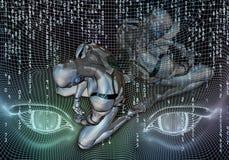 Den abstrakta konstnärliga datoren 3d frambragte illustrationen av en färdig kapitulation för deprimerat robotinbrott vektor illustrationer