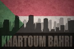 Den abstrakta konturn av staden med text Khartoum Bahri på tappningsudanesen sjunker royaltyfri illustrationer