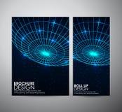 Den abstrakta mallen för broschyraffärsdesignen eller rullar upp Arkivbilder