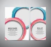 Den abstrakta mallen för designen för affären för broschyren för cirkelborstemålarfärg eller rullar upp Fotografering för Bildbyråer