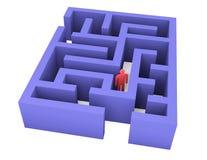 Den abstrakta mannen kan inte få ut ur labyrinten Royaltyfri Foto