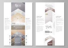 Den abstrakta minimalistic vektorillustrationen av den redigerbara orienteringen av designen för modell för två sidor för modern  stock illustrationer