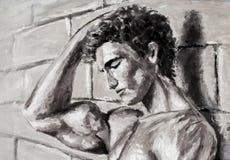 Den abstrakta näcka manliga mannen står vid original- olje- målning för väggen på kanfas - färgrik sexig kroppmålning Arkivbild