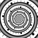 Den abstrakta oändlighetsspiralen röra sig i spiral ändlöst Arkivbild
