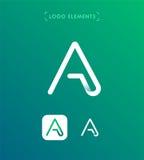 Den abstrakta origamin för triangelbokstav A utformar logomallen applicat Arkivfoto
