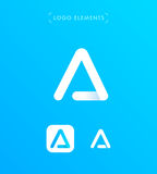 Den abstrakta origamin för triangelbokstav A utformar logomallen applicat Fotografering för Bildbyråer
