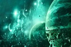 Den abstrakta planethorisonten och det är månen på Surrounded vid asteroider i en galaxbakgrund royaltyfri illustrationer