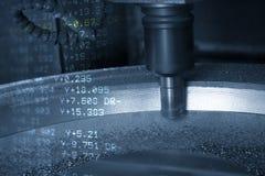 Den abstrakta platsen av för CNC-malning för 3 axel maskinen och dekod datan royaltyfri illustrationer