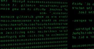 Den abstrakta pricken blänker den gröna binära digitala koden för gnistrandet, dator frambragd sömlös bakgrund för svart för ögla stock video
