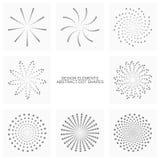 Den abstrakta pricken formar, vektoruppsättningen av designbeståndsdelar Arkivfoton