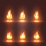 den abstrakta realistiska uppsättningen för brandflammabilder på rutig bakgrund, brasa undertecknar samlingen på den mörka bakgru Arkivfoto