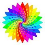 Den abstrakta regnbågen färgade mandalaen, blomman som isolerades på vit bakgrund, flerfärgad blom för fractalen, färgrik esoteri Arkivbild