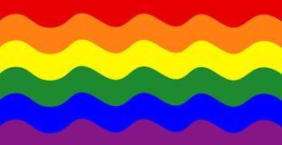 Den abstrakta regnbågen vinkar illustrationen, färgrik vektorflagga, Royaltyfri Bild
